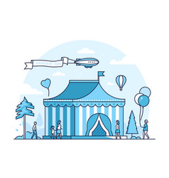 Circus - thin line design style vector
