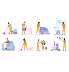 Cleaning service cleaning team vacuuming washing vector