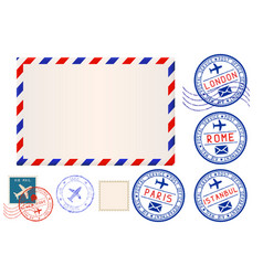 Collection postal elements envelope and stamp vector