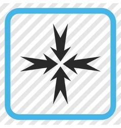 Compression arrows icon in a frame vector