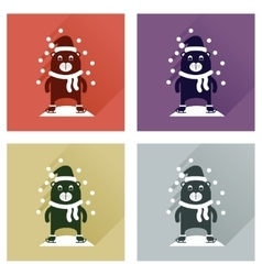 Concept of flat icons with long shadow bear snow vector