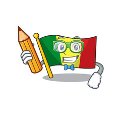 Cool smart student flag mali character holding vector