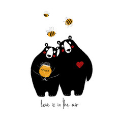 Couple of cute bears in love vector