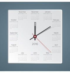Creative calendar for 2016 in the form of hours vector image