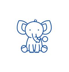 cute elephant line icon concept cute elephant vector image
