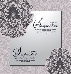 damask invitation floral card vector image