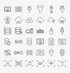 data science line icons set vector image