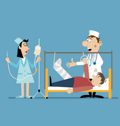 doctor and nurse at the bedside vector image vector image