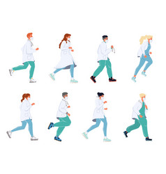Doctor running in masks clinic health urgency set vector