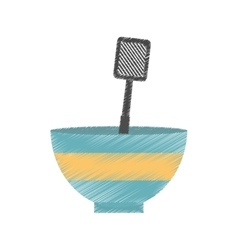 Drawing bowl spatula grill utensil kitchen vector