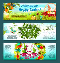 easter egg rabbit and flowers festive banner set vector image vector image