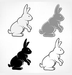 easter rabbits on white vector image vector image