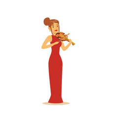 Elegantly dressed female musician playing violin vector