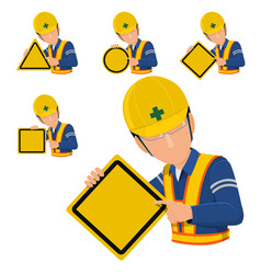 Engineer hold blank warning sign vector