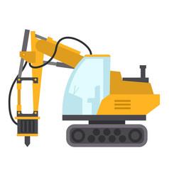 Excavator hammer icon flat style vector