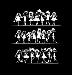 fashion girls collection sketch for your design vector image