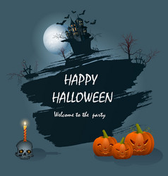 festive greeting card for halloween on a blue vector image