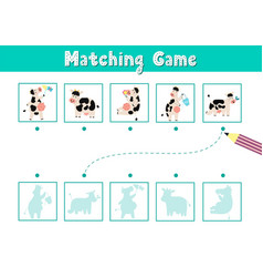 Find correct shadow matching game with cute vector