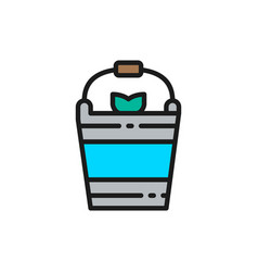 Fishing bucket flat color line icon vector