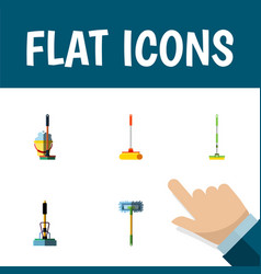 Flat icon cleaner set of besom mop cleaner and vector