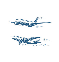 flying airplane set takeoff plane airline symbol vector image
