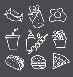 food icons and signs monochrome vector image