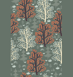 forest seamless pattern with trees vector image