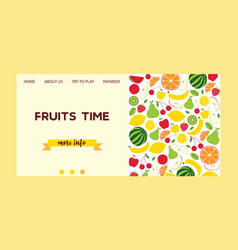 fruit pattern landing page fruity background and vector image