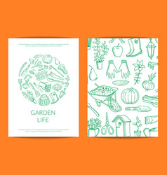 Gardening doodle icons vector