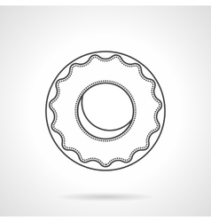 Glazed donut flat line icon vector image