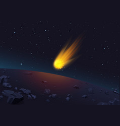 Glowing comet falling to vector