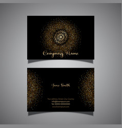 Gold glitterelegant business card vector