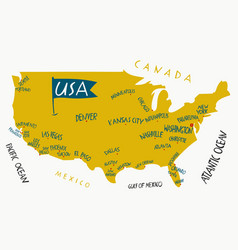 hand drawn stylized map united states vector image