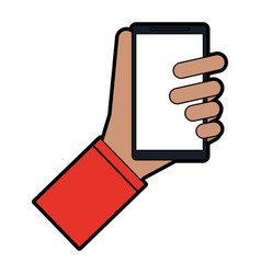 Hand holding cellphone icon image vector