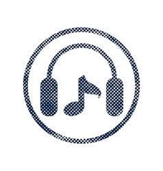 Headphones icon with halftone dots print texture vector