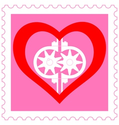 Heart pump on stamp vector