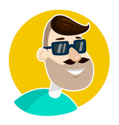 hipster man unshaved face in sunglasses vector image