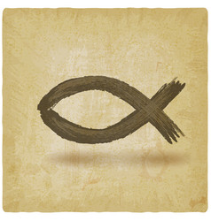 ichthys christian fish symbol on vintage vector image