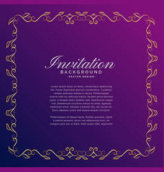 Invitation background with golden border vector