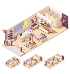 Isometric clothing store interior vector