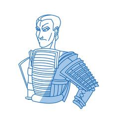 japanese samurai cartoon hero warrior clothes vector image