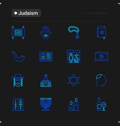 Judaism thin line icons set vector