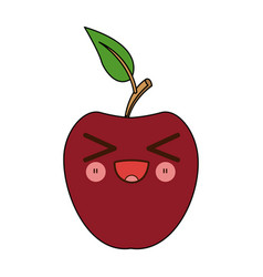 Kawaii apple fruit with leave cartoon vector