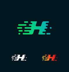 letter h modern speed shapes logo design vector image