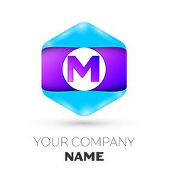 Letter m logo symbol in colorful hexagonal vector