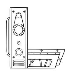 Mechanical letter l engraving vector