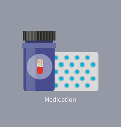 Medication promo with jar and plastic bar of pills vector
