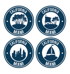 Miami beach california set seals vector