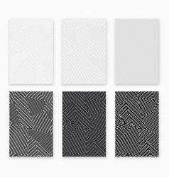 monochrome geometric seamless pattern set vector image