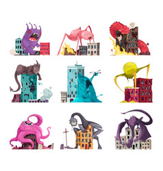 Monster attacking icon set vector